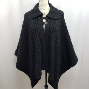 Talbots Cable Knit Sweater Cape One Size